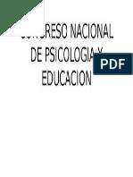 Congreso Nacional de Psicologia y Educacion