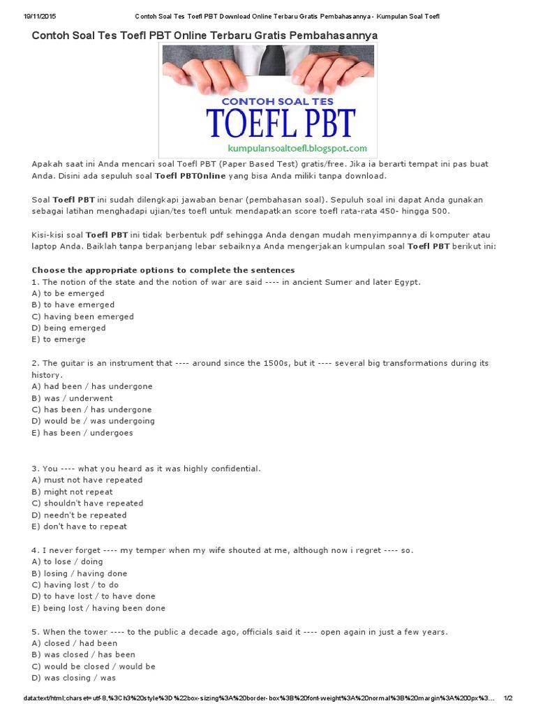 Soal Toefl Pdf 2020 Guru Galeri