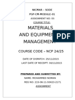 Materials and Equipment Management