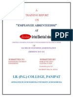 17026384 Project on Employee Absenteeism by Nisam