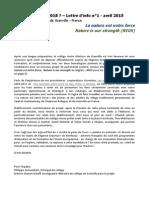 NIOS - Lettre d'info n°1 - La nature est notre force - (Erasmus+ 2015-2018)