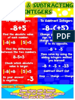 adding and subtraction integers poster