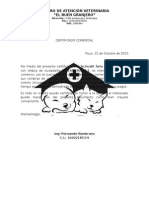 Certificado Comercial Veterinaria
