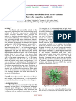 Production of secondary metabolites from invitro cultures  of Rauwolfia serpentina (L.) Benth