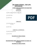 Cálculo de Caixa d'Água - Top Life Ortigueira