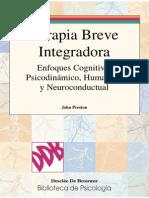 Terapia Breve Integradora Enfoques Cognitivo, Psicodinámico, Humanista y Neuroconductual