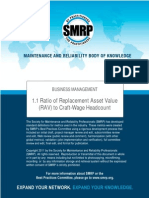 SMRP Metric 1.1 Ratio of Replacement Asset Value (RAV) to Craft-Wage Headcount