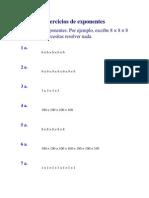 Ejercicios de Exponentes