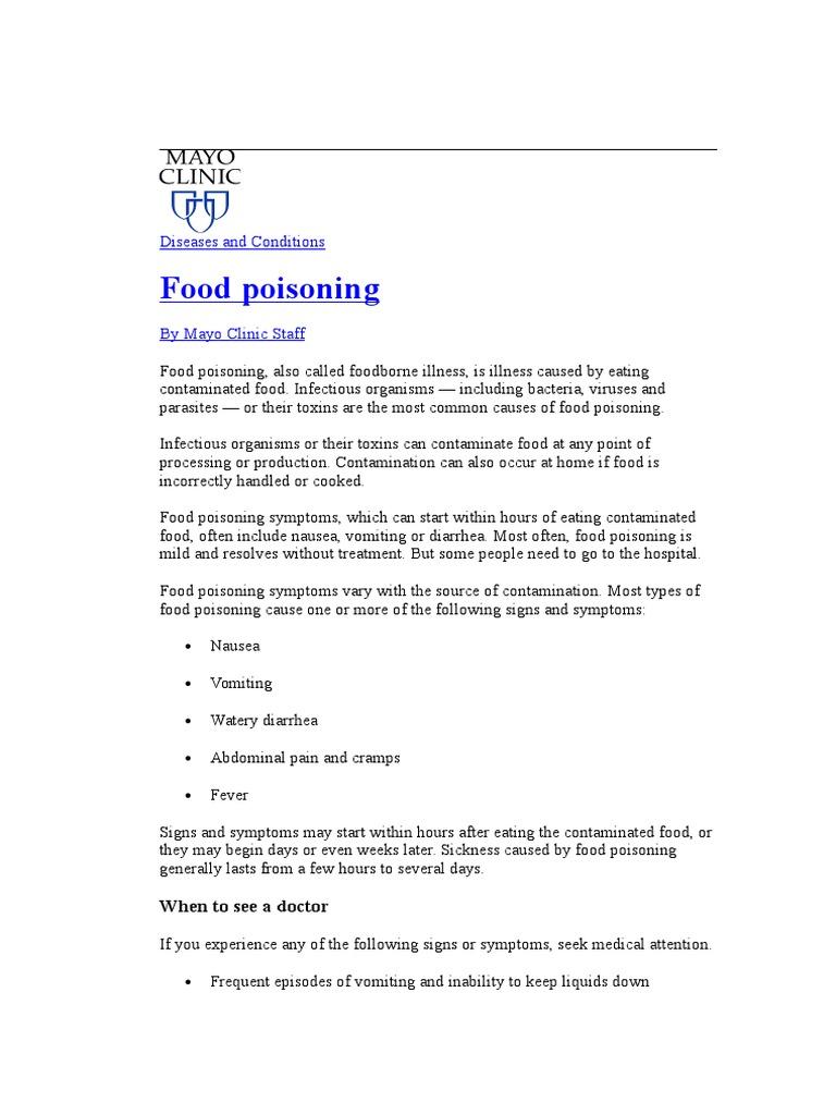 Food Poisoning Mayoclinic Foodborne Illness Diarrhea