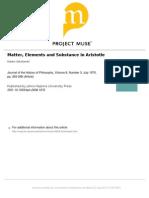 Sokolowski - Matter, Elements and Substance in Aristotle