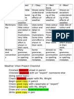 weather villians project rubric and research