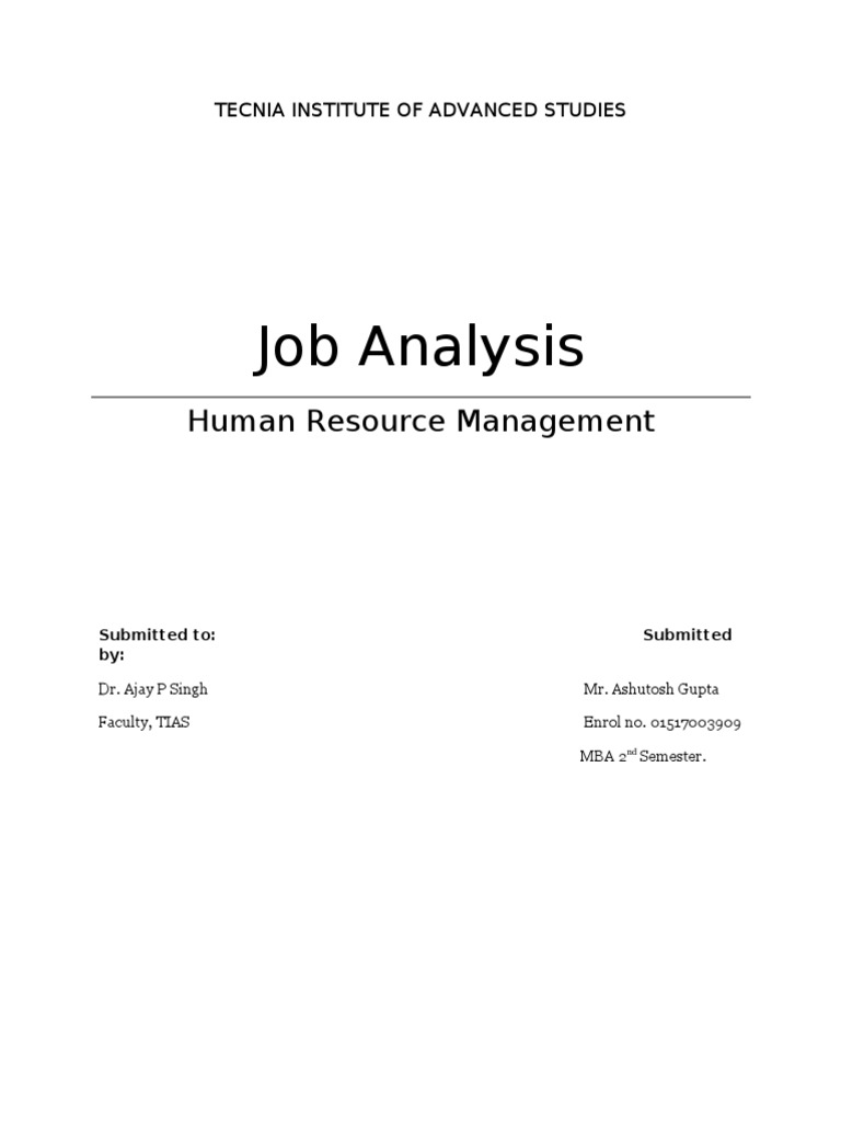 Job Analysis (Complete With Case Study) | Employment | Performance Appraisal