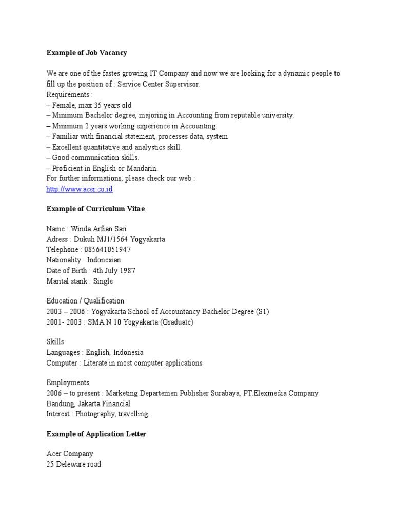 Example of Job Vacancy | Résumé | Microsoft Office