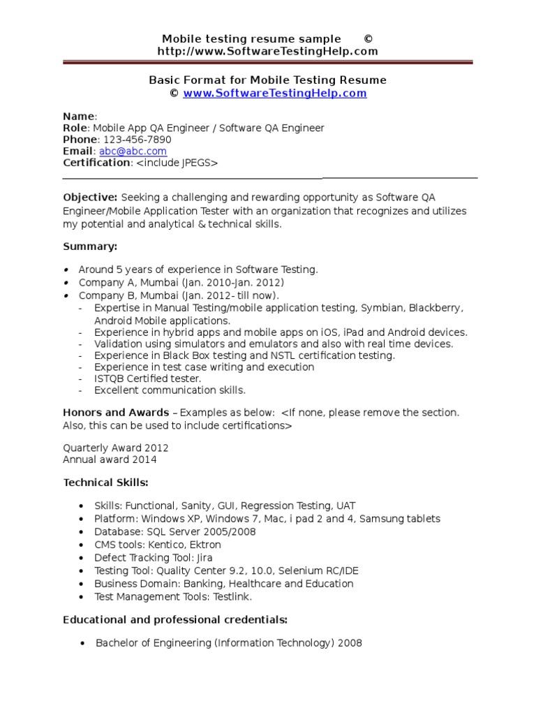 mobile testing resume sample document mobile app application