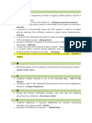 Jawaban Sertifikasi Sap Invoice Databases