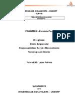 Modelo Sugerido Relatório Final Prointer II Tecs
