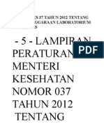 Permenkes 37 Tahun 2012 Tentang Penyelenggaraan Laboratorium Puskesmas