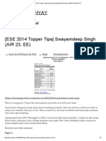 [Ese 2014 Topper Tips] Swayamdeep Singh (Air 23, Ee) _ Sagar Upadhyay