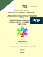 Clima Organizacional, Su Aplicación en Empresas Del Uruguay