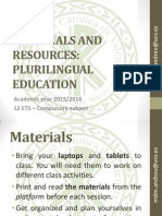 2015 2016 Materials and Resources Presentation