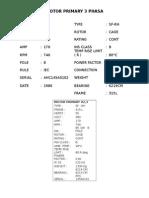 Spesifikasi Motor Primary Existing