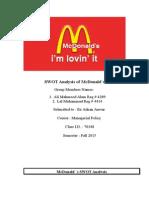 mcdonald swot