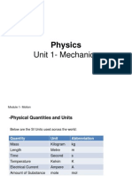 Physics Unit 1 Mechanics