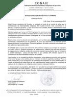 Respuesta a las declaraciones de Rafael Correa a la Conaie