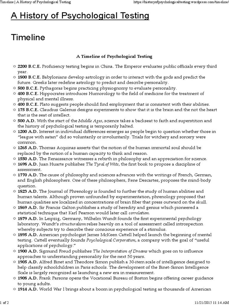 worksheet Psychology Timeline Worksheet timeline a history of psychological testing psychology cognitive science