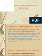 Behavioral Perspectives in Nursing
