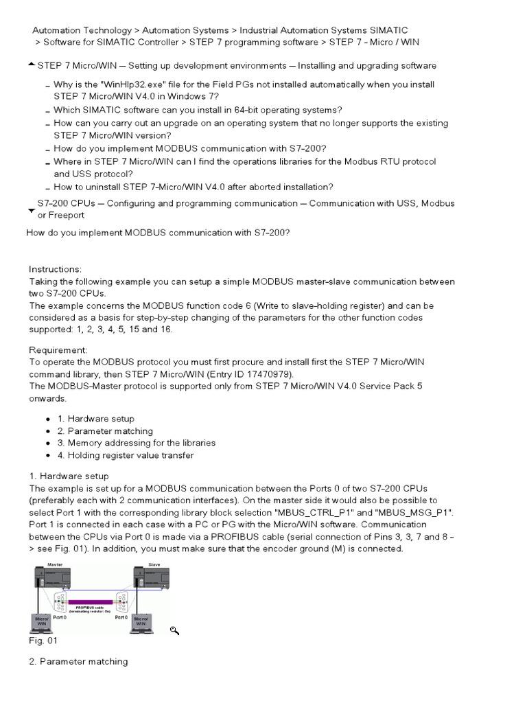 Siemens S7200 Modbus Guide | Pointer (Computer Programming