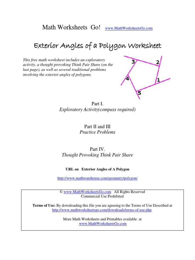 Worksheets Think Pair Share Worksheet exterior angles of polygon worskheet angle polygon