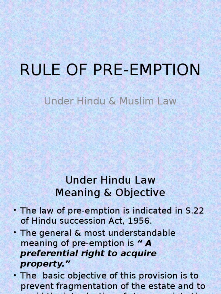 right of preemption in hindu law