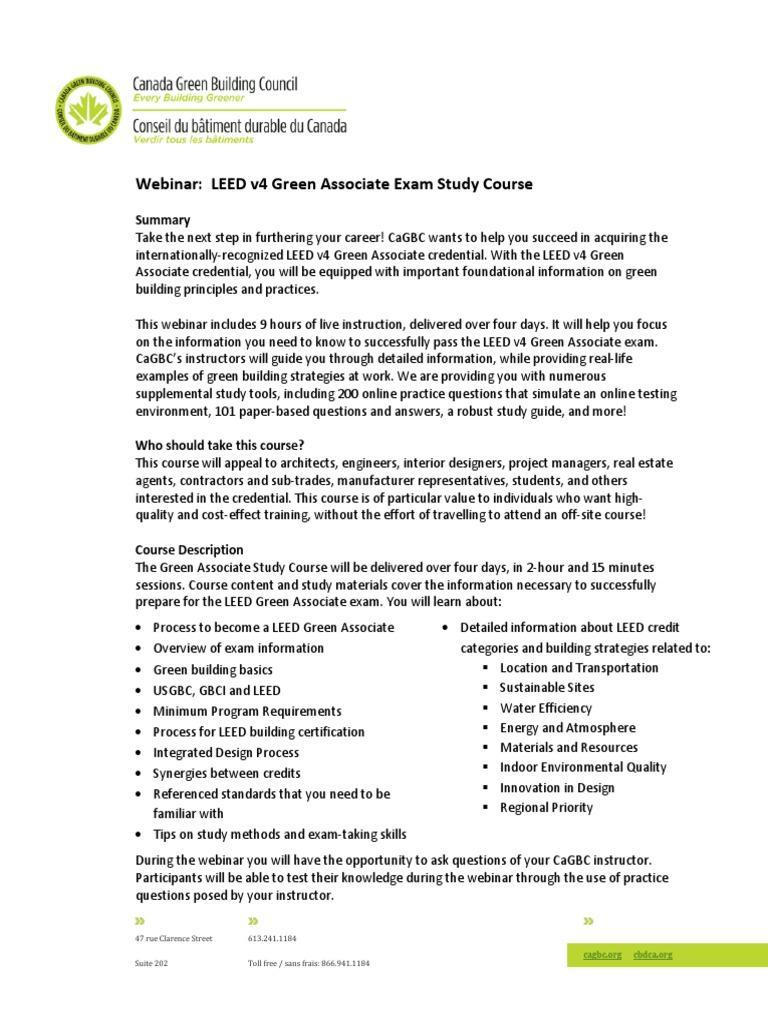 Webinar Leed V4 Green Associate Exam Study Course Leadership In