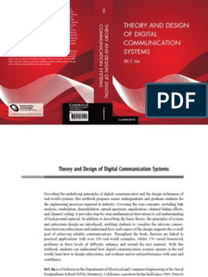 Ha T T Theory And Design Of Digital Communication Systems Draft Cup 2010 Isbn 0521761743 669s Ee Modulation Forward Error Correction