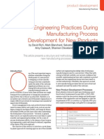 Engineering Practices During Manufacturing Process Development for New Products