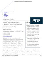 RSNA Press Release_ Violent Video Games Leave Teenagers Emotionally Aroused