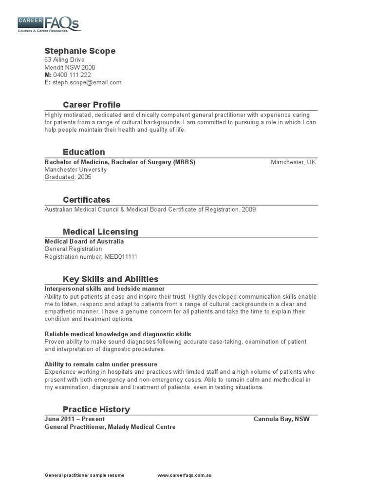 General practitioner sample resume careerfaqs medical general practitioner sample resume careerfaqs medical diagnosis general practitioner yadclub Choice Image