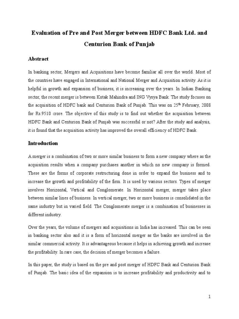 case study on merger of hdfc and centurion bank of punjab