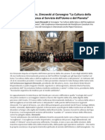 Mons Zimowski Al Convegno La Cultura Della Salus e Dell'Accoglienza Al Servizio Dell'Uomo e Del Pianeta
