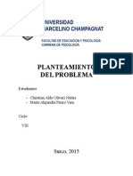 PlanteaRelación entre la cohesión y adaptabilidad con los indicadores de resiliencia en estudiantes de educación secundaria de una Institución Educativa estatal San Juan de Miraflores.miento de Problema