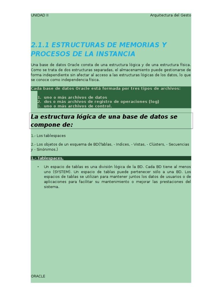 Estructuras De Memorias Y Procesos De La Instancia Caché