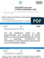 Plataformas Online de Gestão Pública como oportunidades de Participação Cidadã