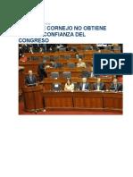 Gabinete de Cornejo No Obtiene Voto de Confianza