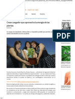2015-05-02 Crean Cargador Que Aprovecha La Energía de Las Plantas - Buendiario