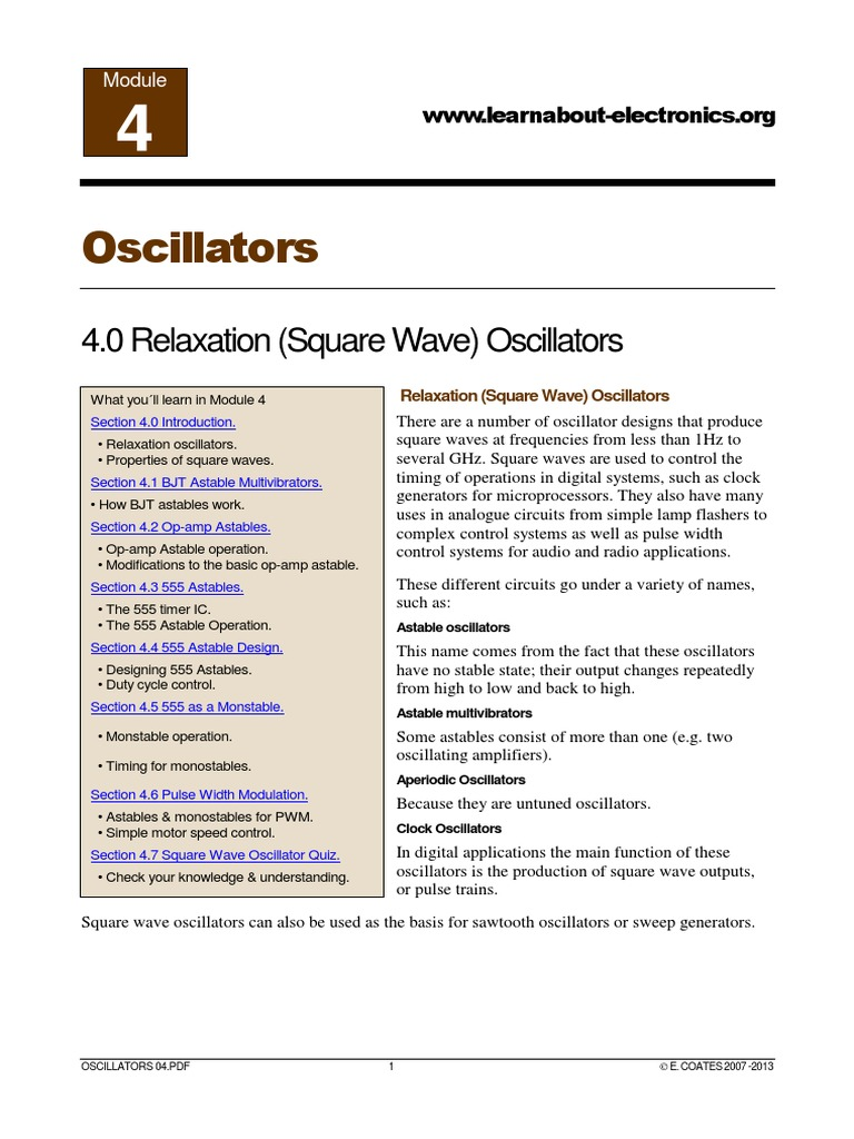Oscillators Module 04 Capacitor Electronic Oscillator Astable Is Built Using An Integrated Circuit Called A 555 Timer
