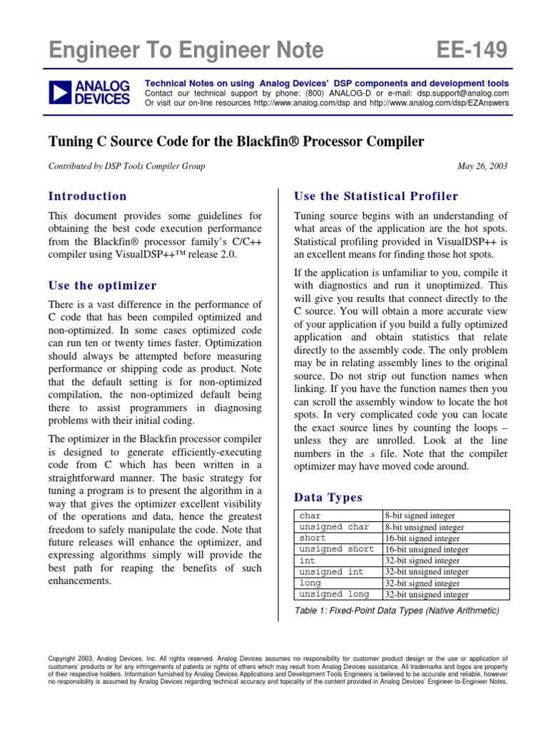 Tuning C Source Code for the Blackfin Processor Compiler