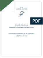 Informe Centro Carter Elecciones 14 de Abril