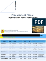 Procurement Plan of Hydro Electric Power Plant Project 2012