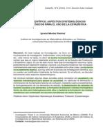 Mendez Ignacio--Metodo Cientifico, Aspectos Epistemologicos y Metodologicos Para El Uso de La Estadistica